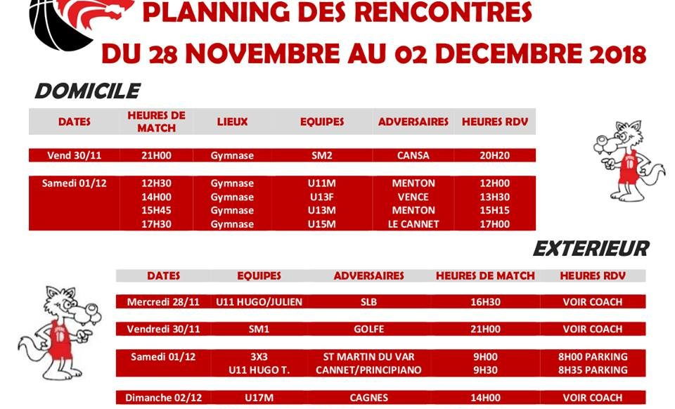 Matchs du 28 novembre au 2 décembre
