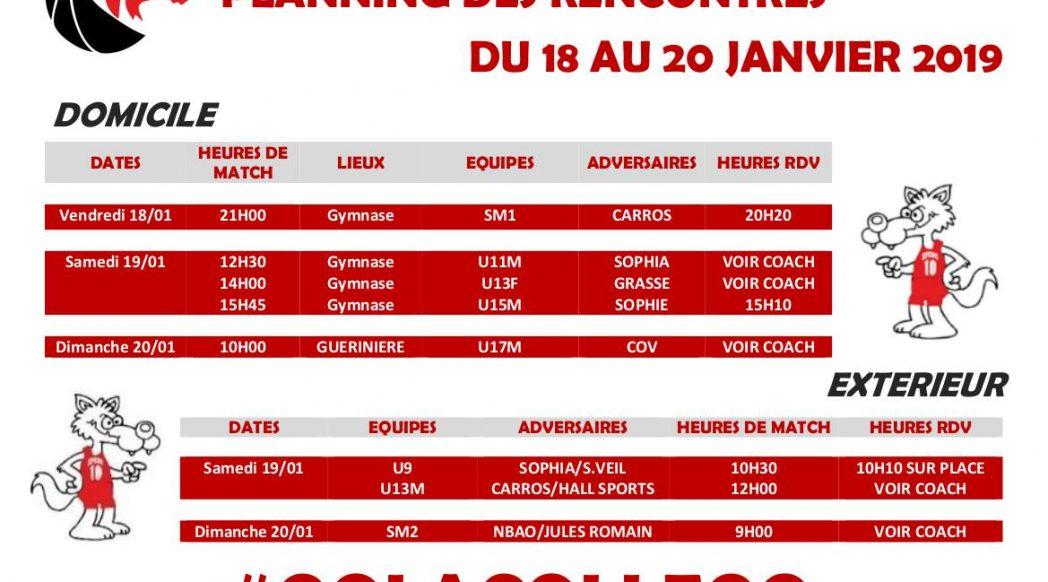 Matchs du 18 au 20 janvier