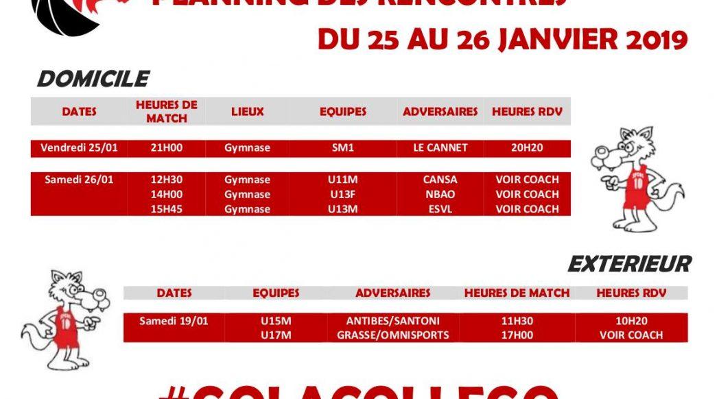 Matchs du 25 au 26 janvier